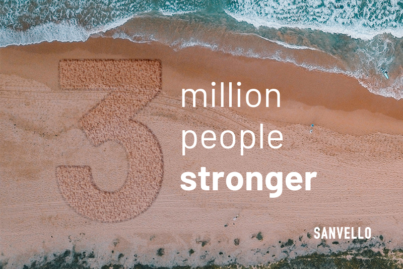 Sanvello 3 million people stronger - text outlined on the beach