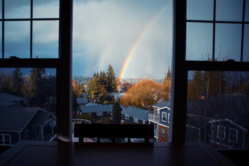 open window and rainbow