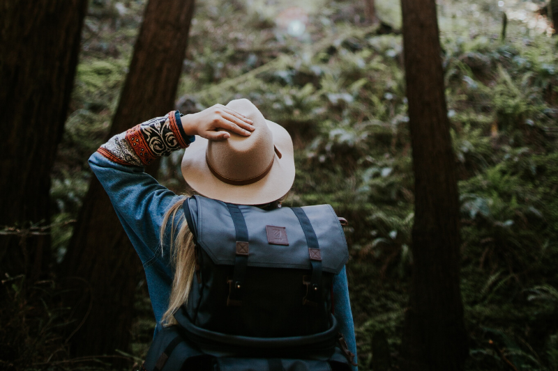 Woman in Hat in Forest